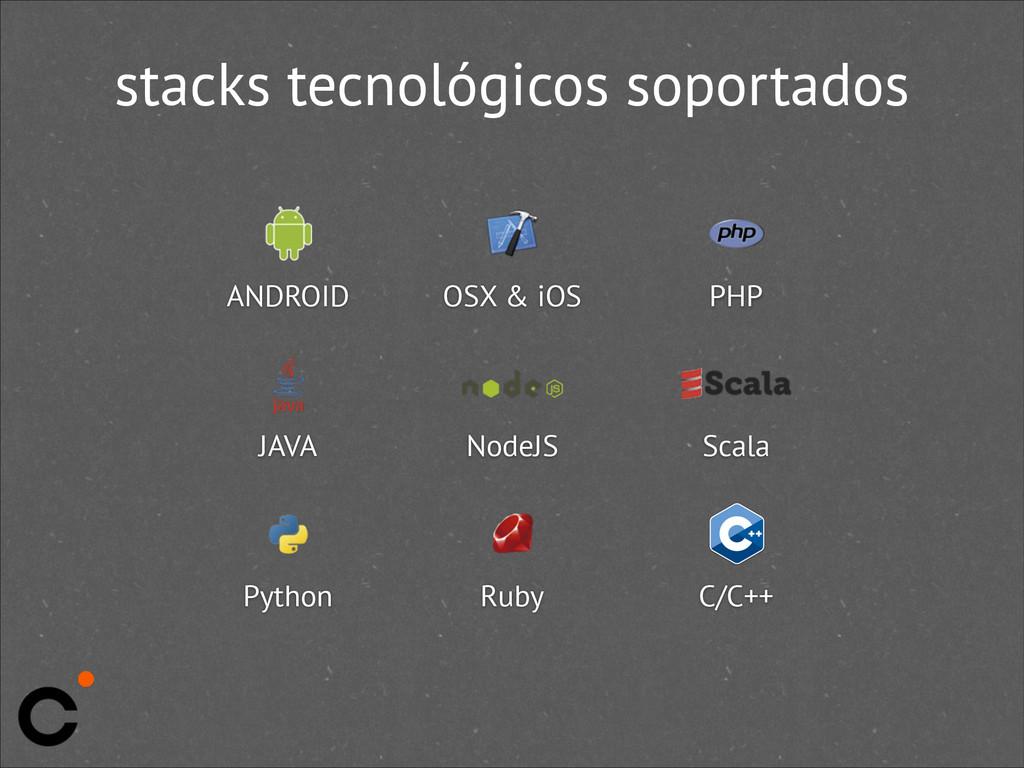stacks tecnológicos soportados ANDROID JAVA OSX...