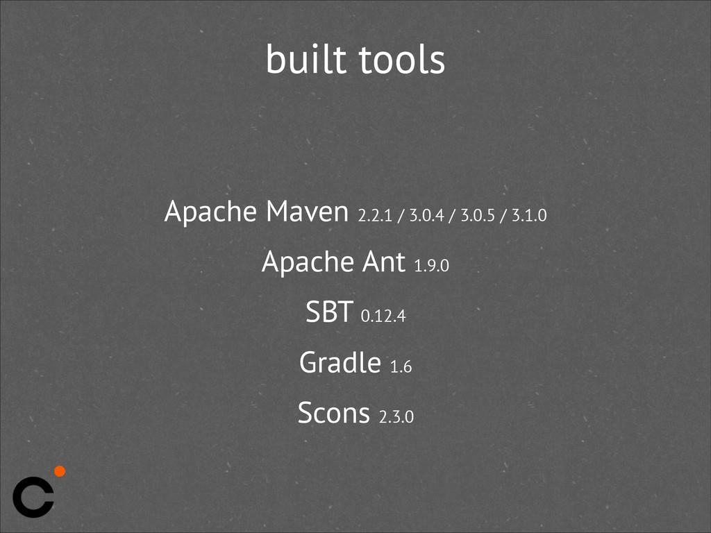 built tools Apache Maven 2.2.1 / 3.0.4 / 3.0.5 ...