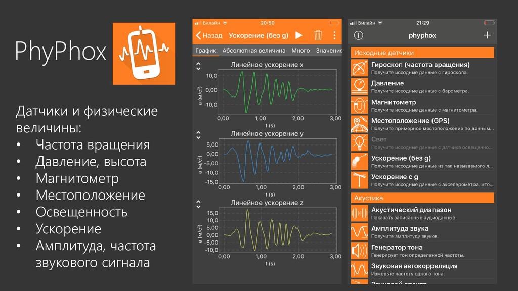 PhyPhox Датчики и физические величины: • Частот...