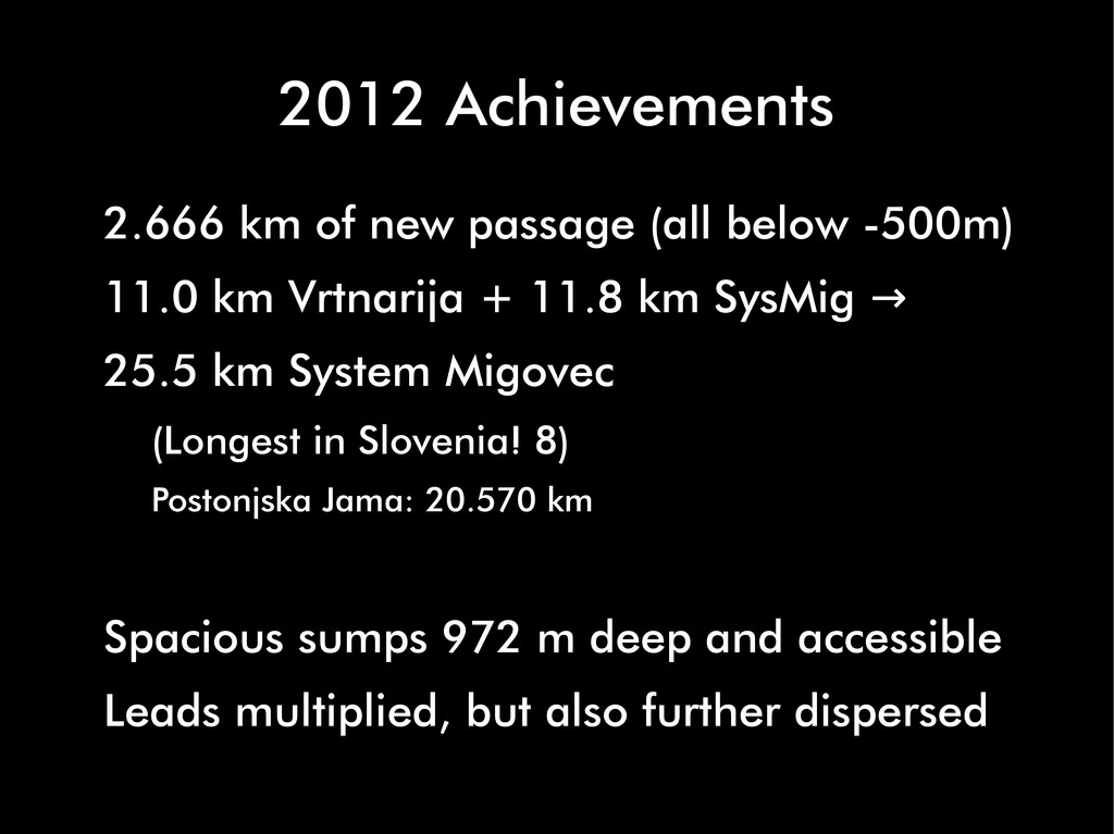 2012 Achievements 2.666 km of new passage (all ...