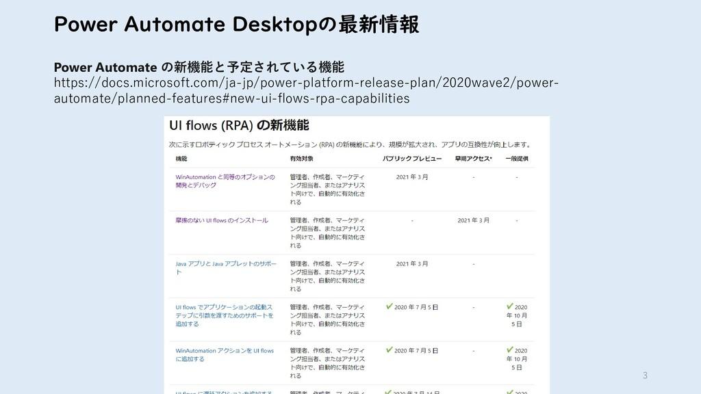 3 Power Automate Desktopの最新情報 Power Automate の新...