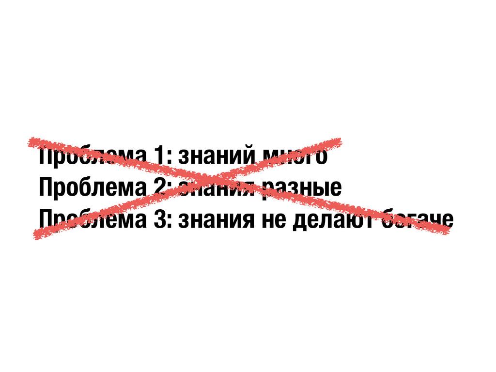 Проблема 1: знаний много Проблема 2: знания раз...