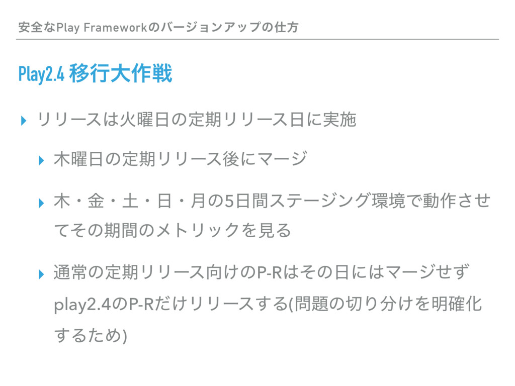 Play2.4 Ҡߦେ࡞ઓ ▸ ϦϦʔεՐ༵ͷఆظϦϦʔεʹ࣮ࢪ ▸ ༵ͷఆظϦϦʔ...