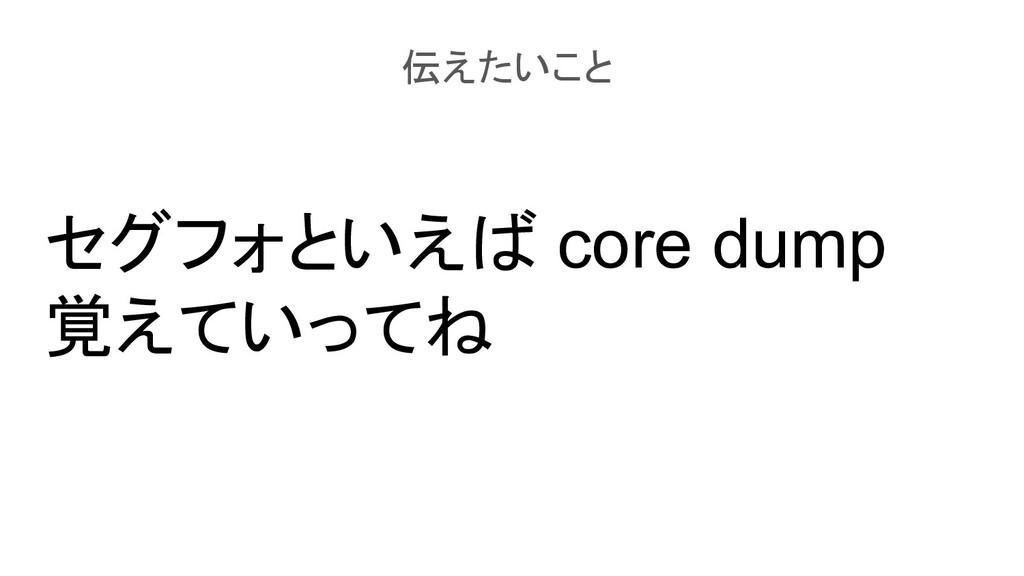 セグフォといえば core dump 覚えていってね 伝えたいこと