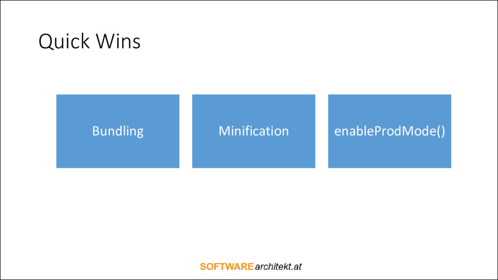 Quick Wins Bundling Minification enableProdMode...