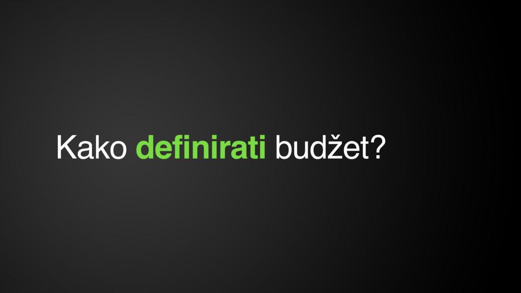 Kako definirati budžet?