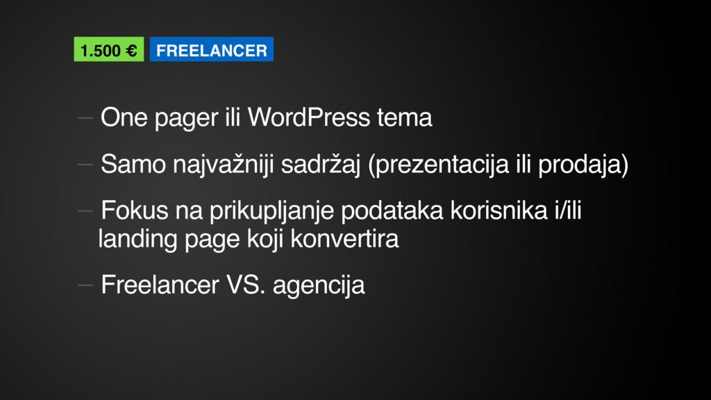 — One pager ili WordPress tema — Samo najvažnij...