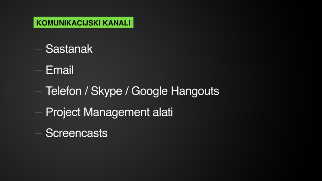 — Sastanak — Email — Telefon / Skype / Google H...
