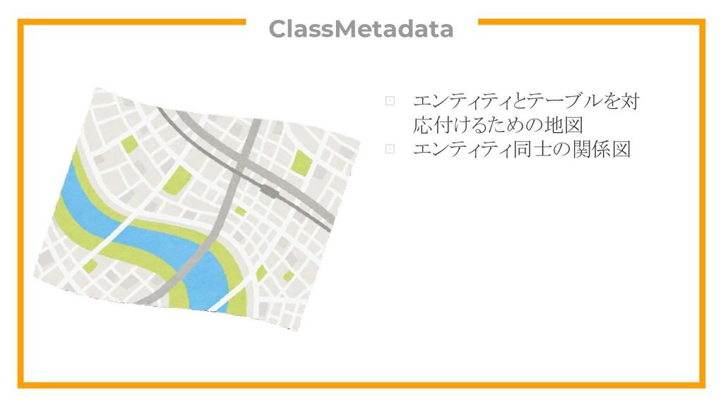 ClassMetadata ⊡ エンティティとテーブルを対 応付けるための地図 ⊡ エンティテ...