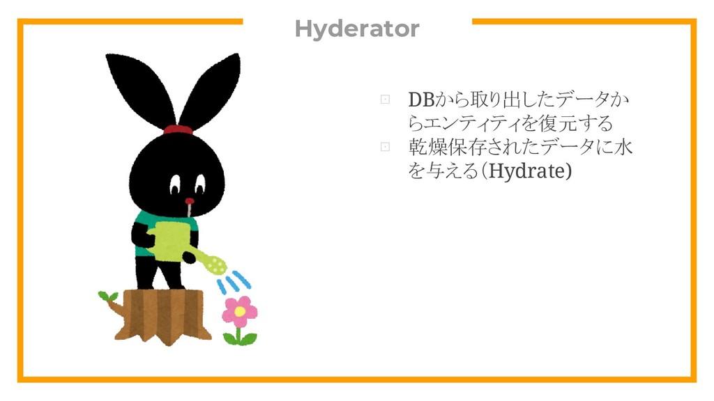 Hyderator ⊡ DBから取り出したデータか らエンティティを復元する ⊡ 乾燥保存され...