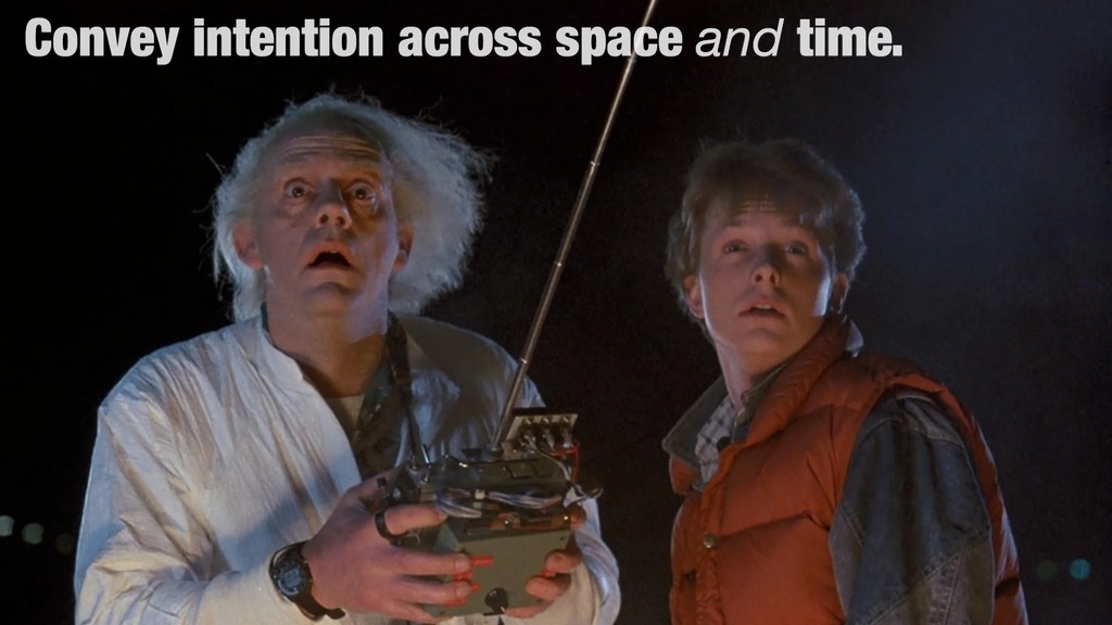 Convey intention across space and time.