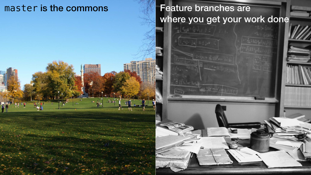 master is the commons Feature branches are wher...