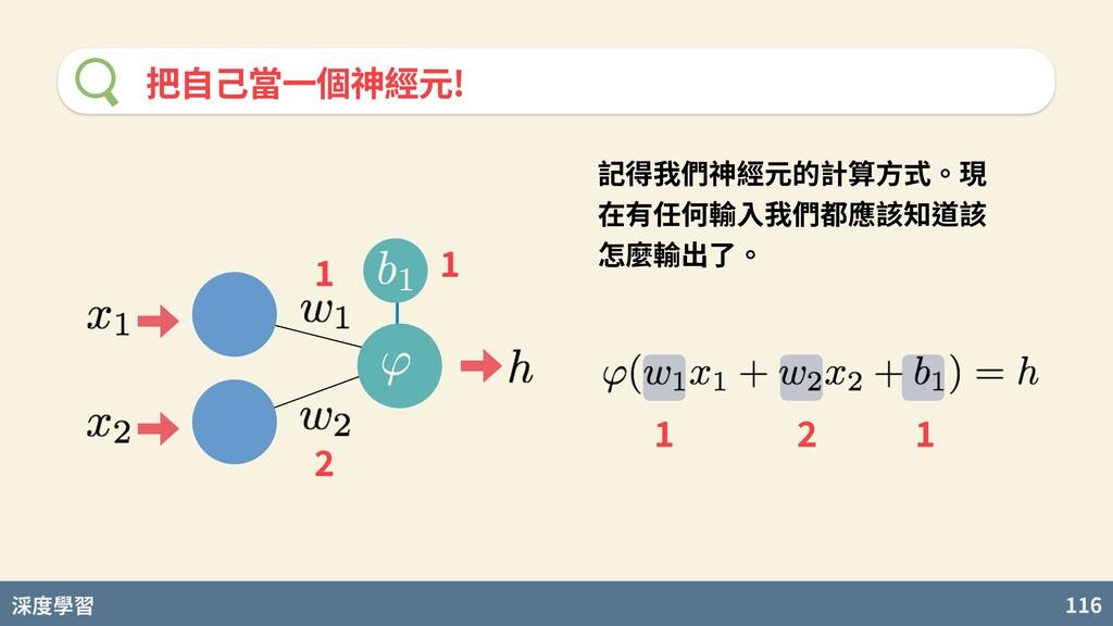 度學習 116 把⾃⼰當⼀個神經元! 記得我們神經元的計算⽅式。現 在有任何輸⼊我們都應該知道...