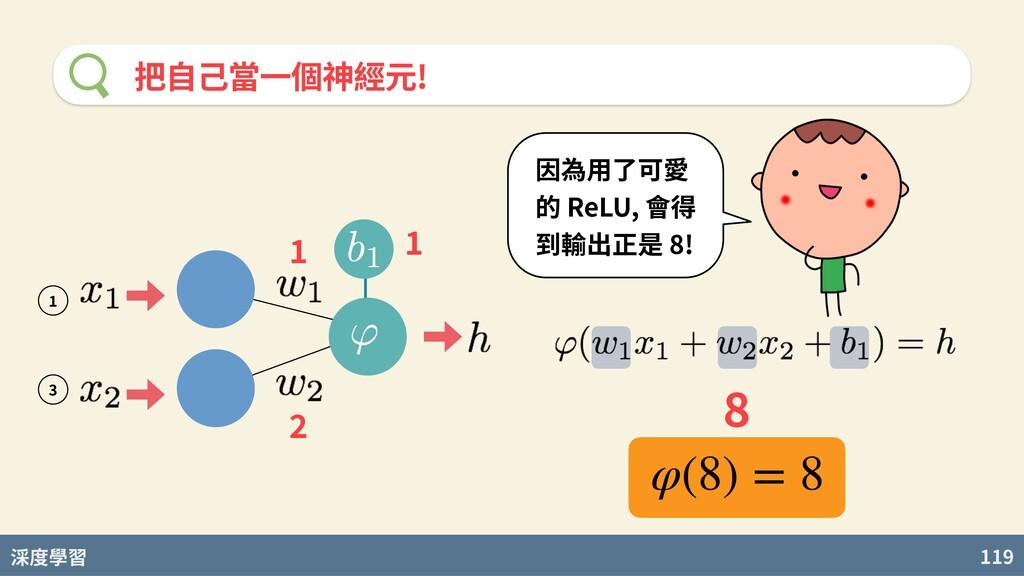 度學習 119 把⾃⼰當⼀個神經元! 因為⽤了可愛 的 ReLU, 會得 到輸出正是 8! φ...