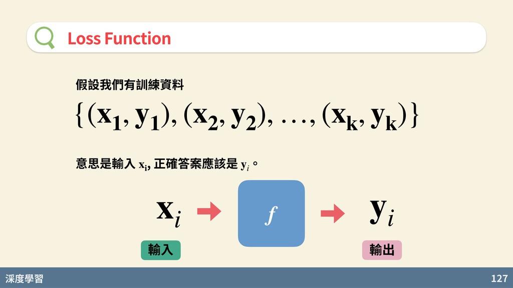 度學習 127 Loss Function 假設我們有訓練資料 {(x1 , y1 ), (x...