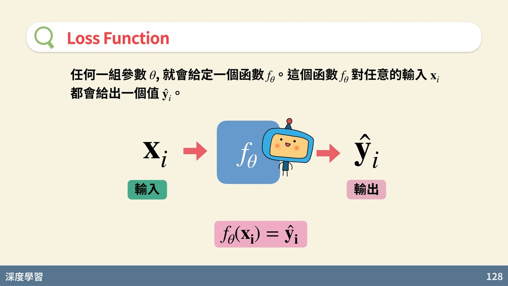 度學習 128 Loss Function 輸⼊ 輸出 xi ̂ yi fθ fθ (xi )...