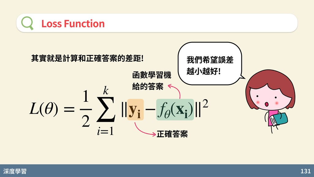 度學習 131 Loss Function L(θ) = 1 2 k ∑ i=1 ∥yi − ...