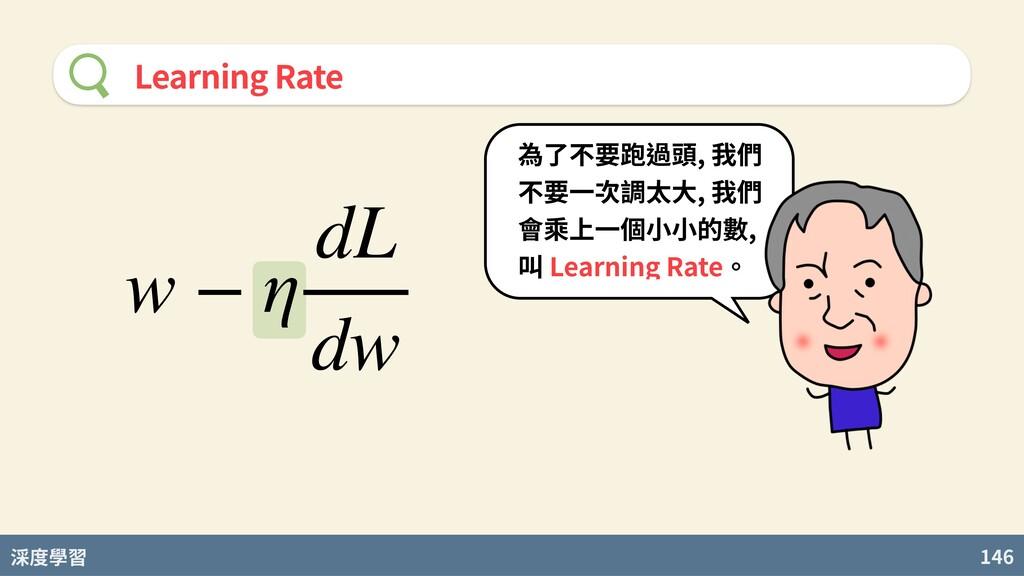 度學習 146 Learning Rate w − η dL dw 為了不要跑過頭, 我們 不...
