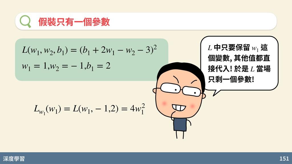 度學習 151 假裝只有⼀個參數 中只要保留 這 個變數, 其他值都直 接代⼊! 於是 當場 ...
