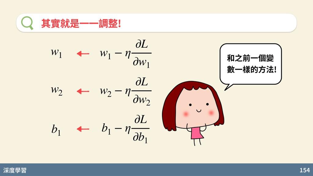 度學習 154 其實就是⼀⼀調整! 和之前⼀個變 數⼀樣的⽅法! w1 − η ∂L ∂w1 ...