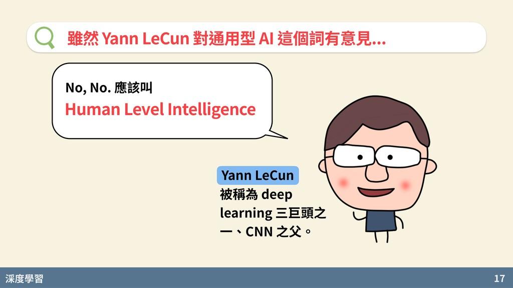 度學習 17 雖然 Yann LeCun 對通⽤型 AI 這個詞有意⾒... No, No. ...