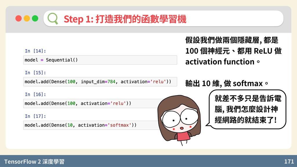 TensorFlow 2 度學習 171 Step : 打造我們的函數學習機 假設我們做兩個隱...