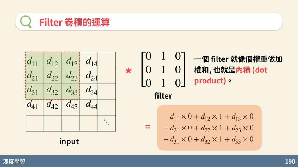 度學習 190 Filter 卷積的運算 d11 d12 d13 d14 d21 d22 d2...