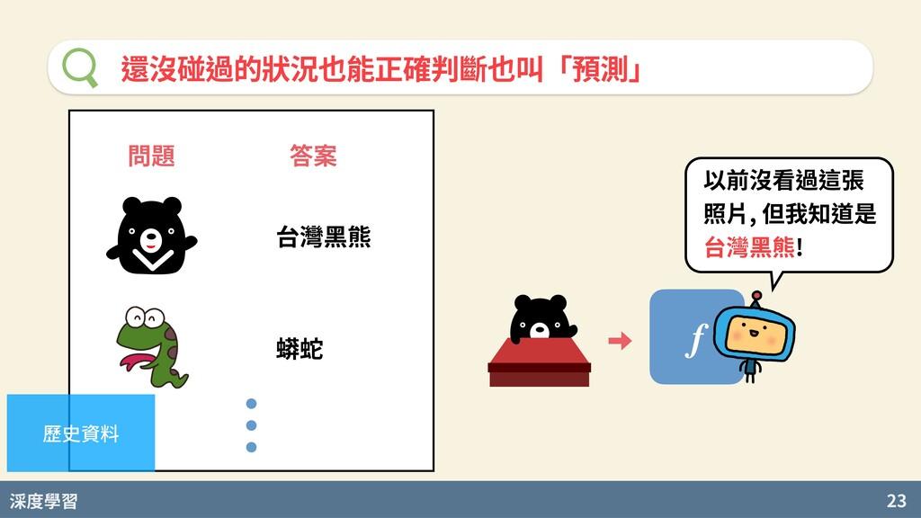 度學習 23 還沒碰過的狀況也能正確判斷也叫「預測」 問題 答案 台灣⿊熊 蟒蛇 歷史資料 f...