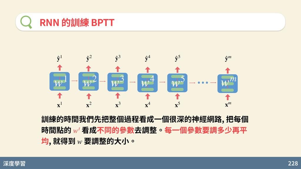度學習 228 RNN 的訓練 BPTT x3 x4 x5 ̂ y3 xm x2 x1 ̂ y...