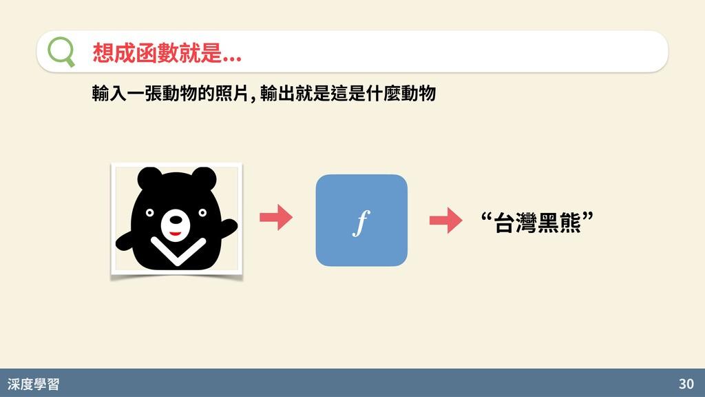 度學習 30 想成函數就是... f n台灣黑熊u 輸⼊⼀張動物的照⽚, 輸出就是這是什麼動物