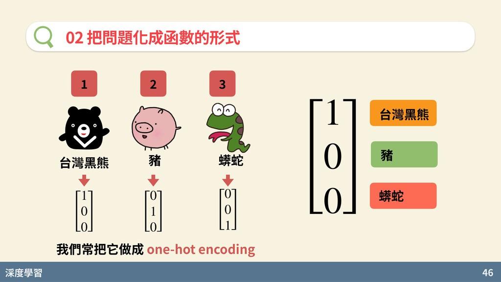 度學習 46 02 把問題化成函數的形式 台灣⿊熊 豬 蠎蛇 [ 1 0 0 ] [ 0 1 ...