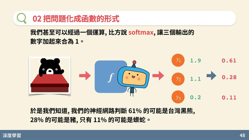 度學習 48 02 把問題化成函數的形式 f 我們甚⾄可以經過⼀個運算, ⽐⽅說 softma...