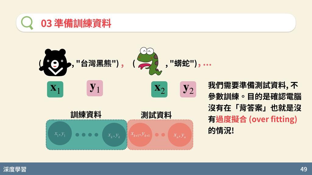 """度學習 49 03 準備訓練資料 ( , """"台灣⿊熊"""") ( , """"蠎蛇"""") , , ... ..."""
