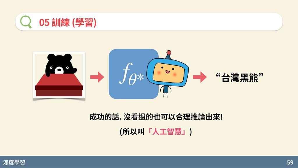 度學習 59 05 訓練 (學習) fθ* n台灣黑熊u 成功的話, 沒看過的也可以合理推論出...