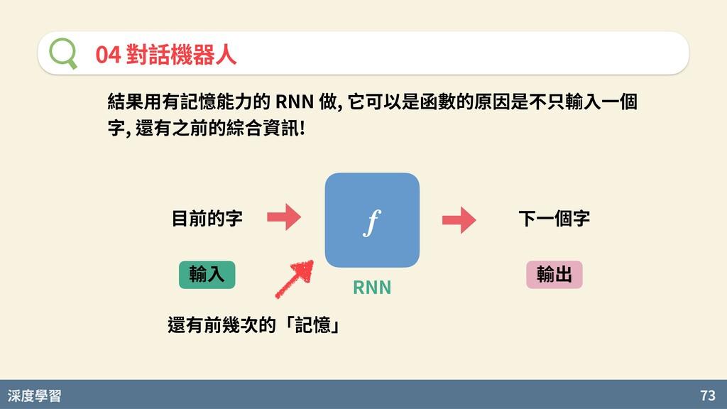 度學習 73 04 對話機器⼈ 結果⽤有記憶能⼒的 RNN 做, 它可以是函數的原因是不只輸⼊...