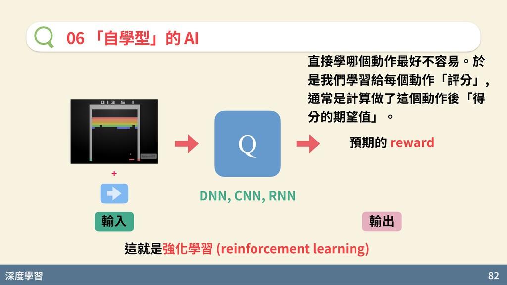度學習 82 06 「⾃學型」的 AI 直接學哪個動作最好不容易。於 是我們學習給每個動作「評...