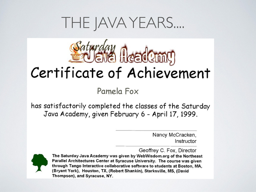 Pamela Fox THE JAVA YEARS....