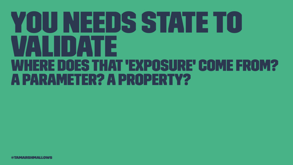 You needs state to validate Where does that 'ex...