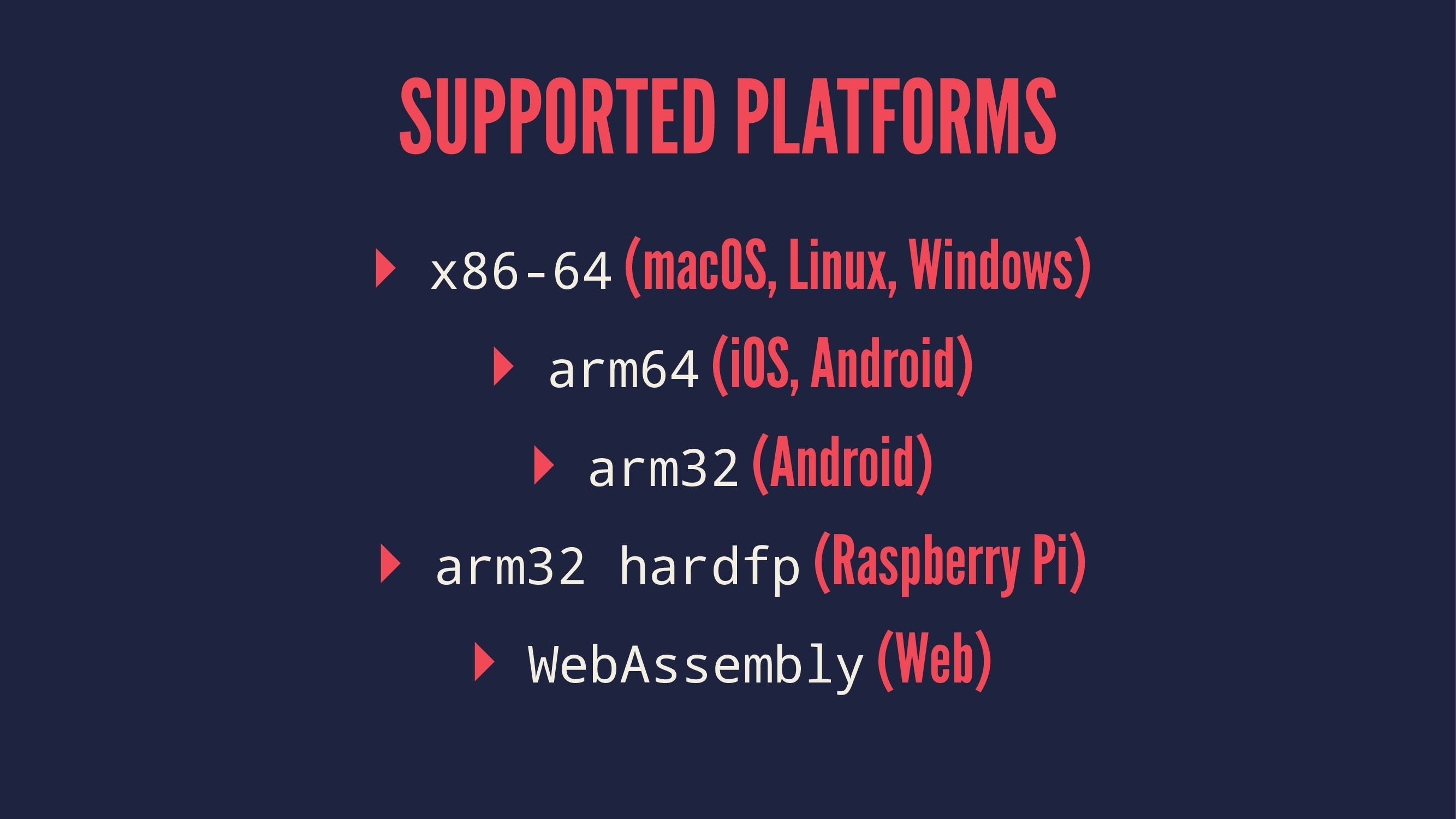 SUPPORTED PLATFORMS ▸ x86-64 (macOS, Linux, Win...