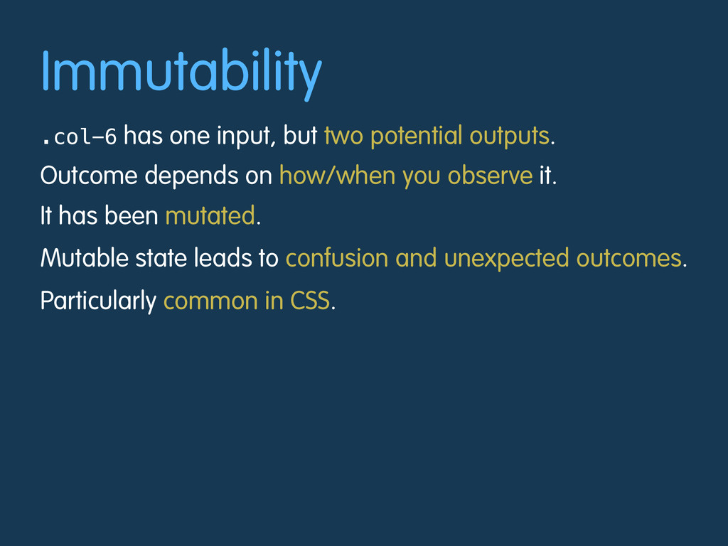 Immutability .col-6 has one input, but two pote...