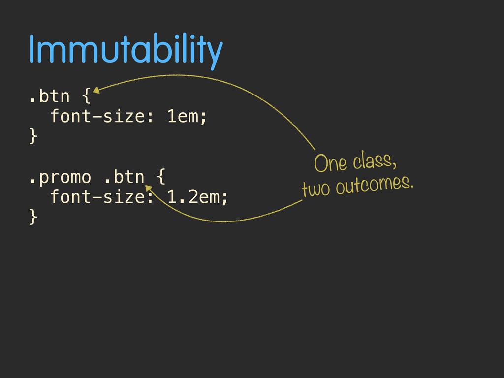 Immutability .btn { font-size: 1em; } .promo .b...