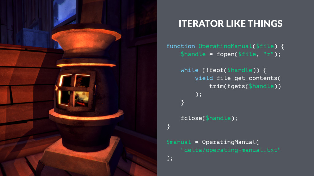 ITERATOR LIKE THINGS function OperatingManual($...