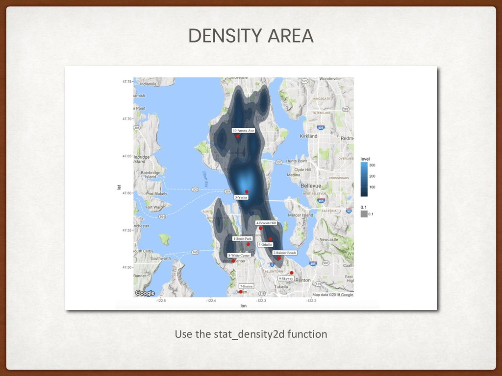 DENSITY AREA Use the stat_density2d function