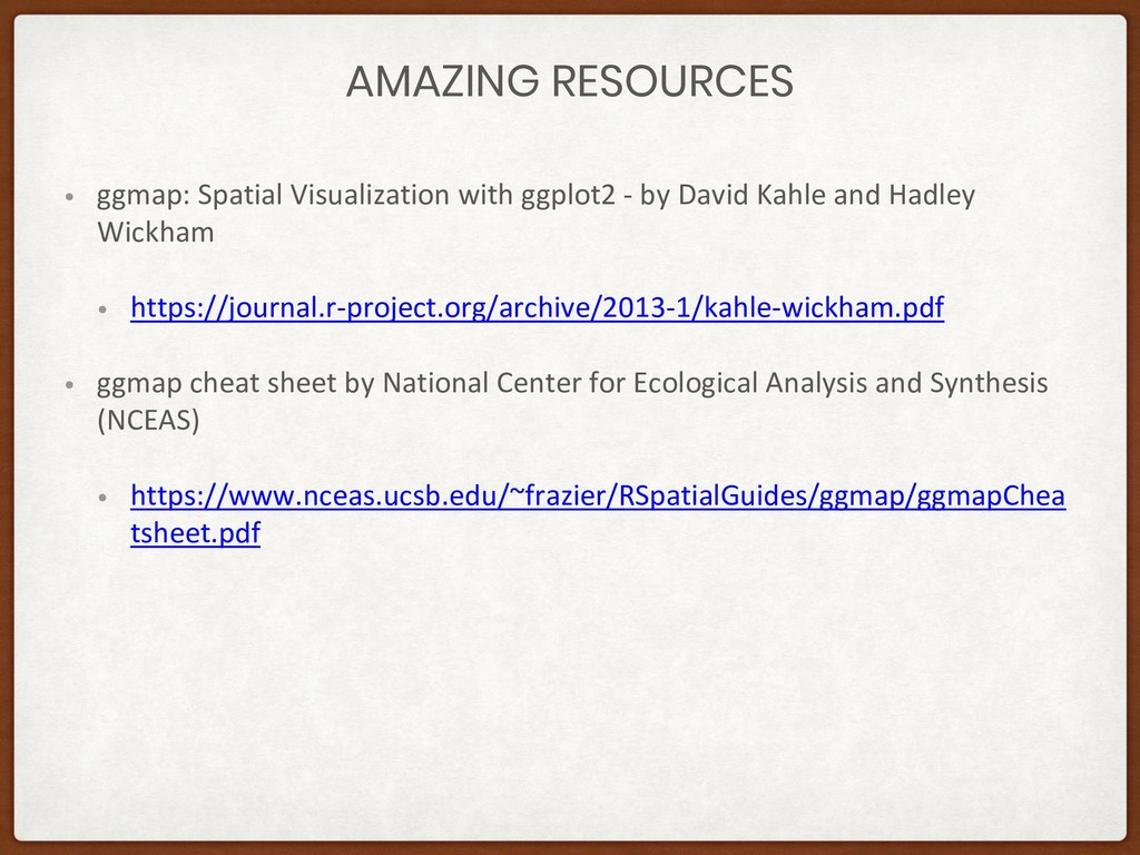 AMAZING RESOURCES • ggmap: Spatial Visualizatio...