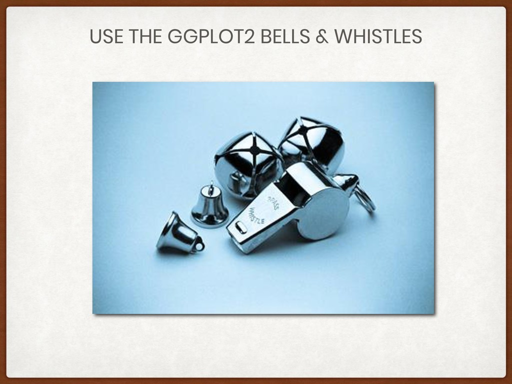 USE THE GGPLOT2 BELLS & WHISTLES