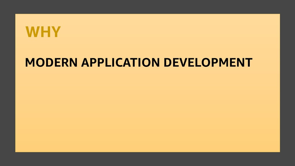 WHY MODERN APPLICATION DEVELOPMENT
