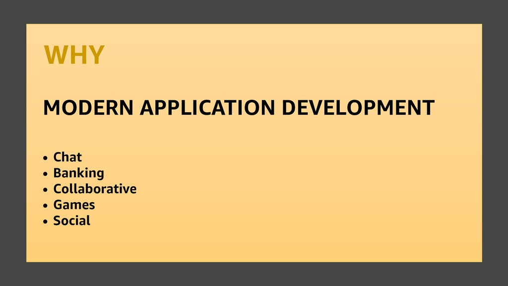 WHY MODERN APPLICATION DEVELOPMENT • Chat • Ban...