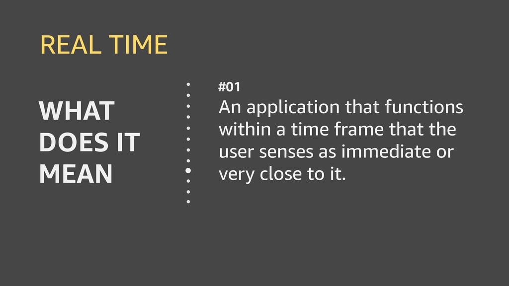 REAL TIME An application that functions within ...