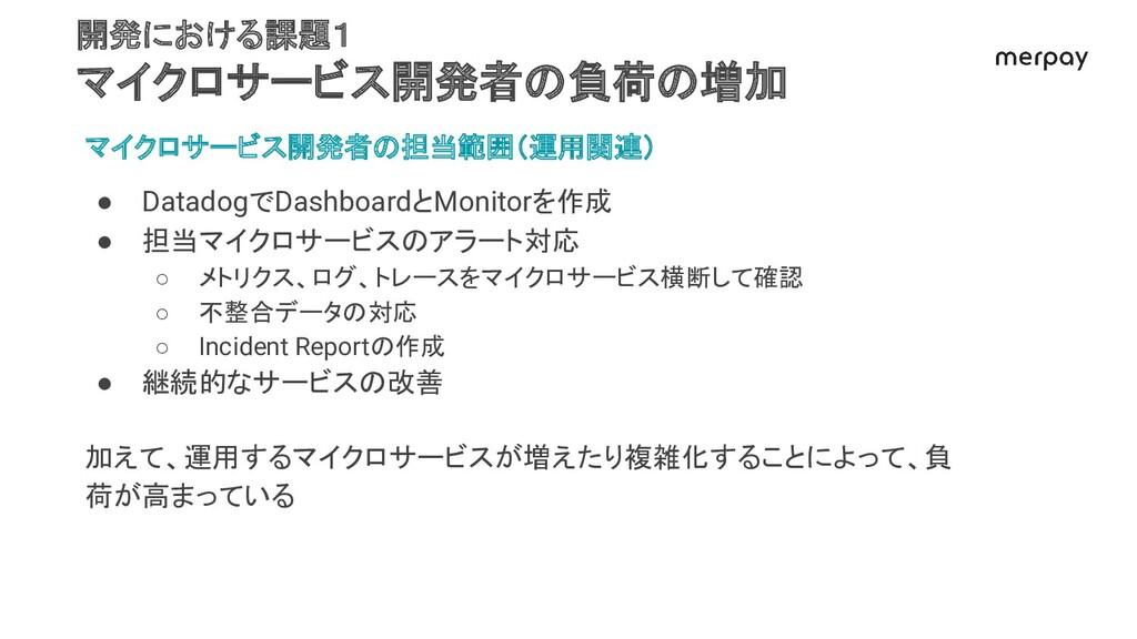 マイクロサービス開発者の担当範囲(運用関連) ● DatadogでDashboardとMoni...