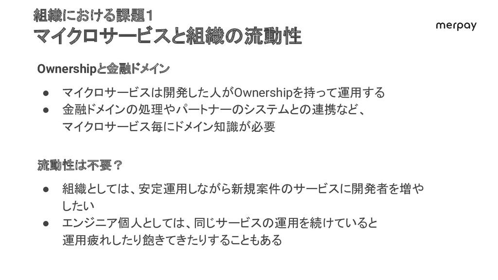 組織における課題1 マイクロサービスと組織の流動性 Ownershipと金融ドメイン ● マイ...